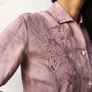 50's Linen embroidery blouse