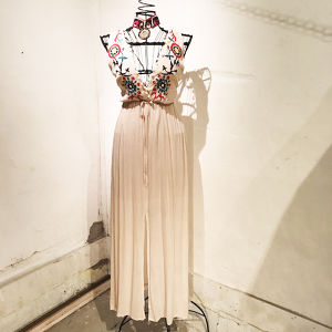 Embroidery Chiffon Sundress / Beige