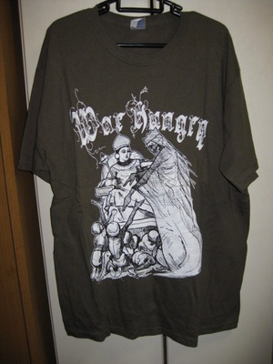 WAR HUNGRY mos green T-SHIRT [L] USED
