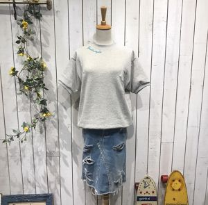 High-neck T-shirt Mix Gray