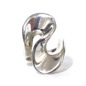 Vintage Sterling Silver Mexican Modern Curved Ring