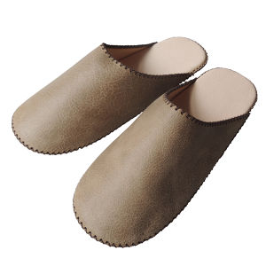 【Large】TOKYO Lether simple slippers [Gray suède] Chrome-free (0010-010L)