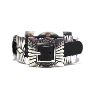Navajo Sterling Silver Stamp Concho Leather Bracelet by Jeanette Dale