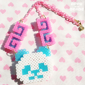 【Apps and Beads】ちゃいなぱんだネックレス(蓄光みずいろ×ピンク)