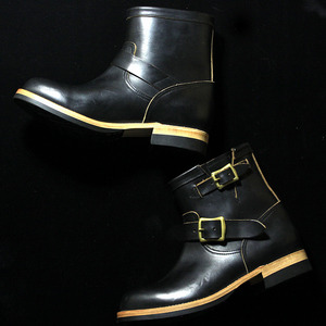 U.S.OIL LEATHER SHORT ENGINEER BOOTS black