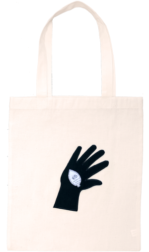 [DONGURI] HAND-STITCH APPRIQUE TOTE BAG-BKドングリアップリケトートバッグ