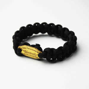 UNRIVALED/Grok.Leather Paracord Bracelet BLACK