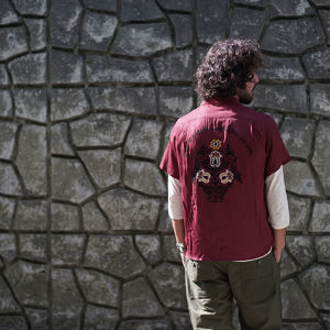 FLOWER  BOWLING SHIRTS(WINE RED)
