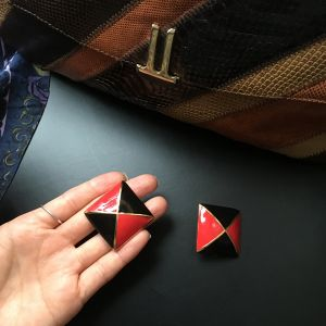 ESCADA square Red × Black earrings