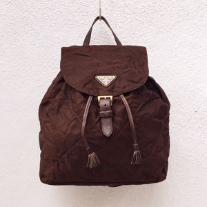 PRADA nylon quilting  back pack Brown color