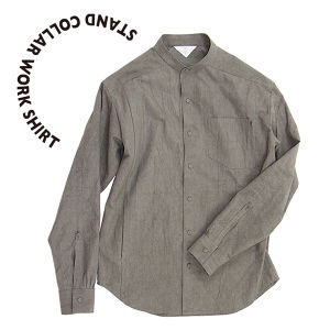 Stand collar work shirt [Gray]
