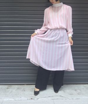 vintage stripe dress  (pink)