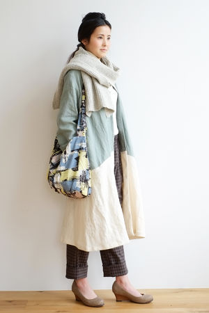 CUBY LINEN coat -green×ivory-