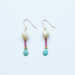 ODORI Earrings|Ruby, Turquoise