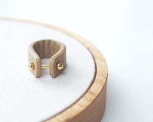 Leather ring -beige-