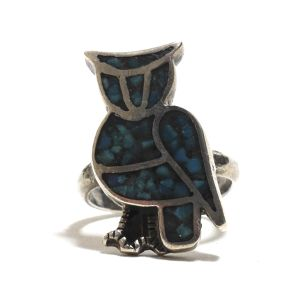70's Vintage Navajo Sterling Silver Turquoise Chip Inlay Owl Ring