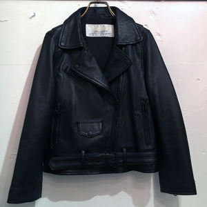 CaNARi 2017 SS lamb leather riders jacket.[Black x Black]