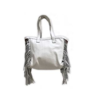 Mexican rug × fringe tote bag (white)