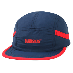BUTTER GOODS TRACK 5 PANEL CAMP CAP NAVY/RED