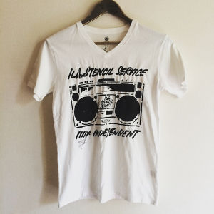STENCIL PRINT REUSE T-SHIRT  WHT