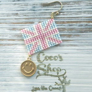 ◆SALE ¥300 OFF◆ Flag One Yar Earing ~Union Jack&Smile~ -Pink-