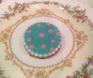 "cukr - ""dot circle cookie brooch (BLUE)"""