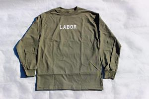 LABOR WORDMARK L/S TEE MILITARY GREEN