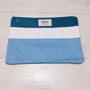 Denim clutch bag R18(Light Blue)