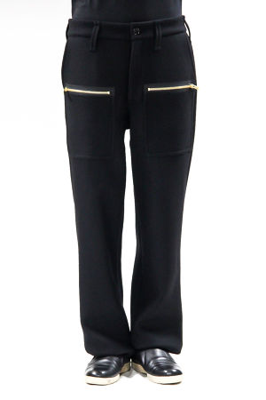 17AW Gold Zip Wool Melton Pants