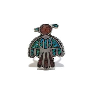 70's Vintage Navajo Sterling Silver Turquoise & Coral Chip Inlay Thunderbird Ring