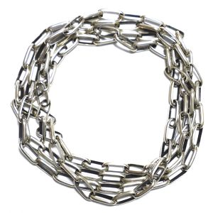 Navajo Heavy Sterling Silver Chain Link Necklace by Larry Yazzie