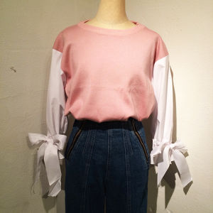 Ribbon Sleeve Knit / Pink