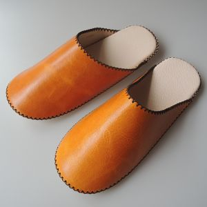 【Small】TOKYO Lether simple slippers [SUMMER] Chrome-free