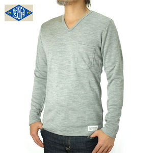 014005015(KNIT SEW V-NECK L/S )GRAY