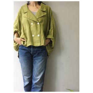 90's Linen green tea color jacket