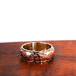 Hawaiian Jewelry 14K GOLD double cut out ring. 8mm on 6mm