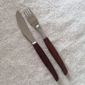 Wood Handle Knife &  Folk Set