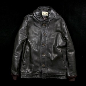 DAMAGE LEATHER SHAWL COLLAR JACKET BLACK