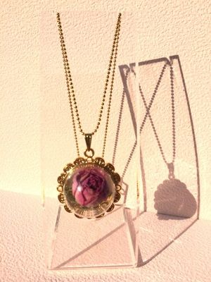 【accessories】glass dorm necklace / gold