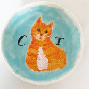 ORANGE TABBY small cat plate