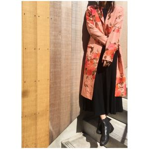 ANNE KLEIN silk long jacket