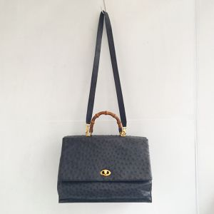 ostrich leather bamboo hand &shoulder bag