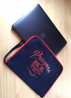 PRAYERS : PRAY FOR 43  KING KENNY ROBERTS and TOMO + MADE in D.B.K. *COLLABORATION* : DBKR-CLUTCH BAG / PC CASE