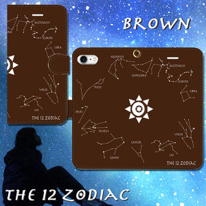 The 12 Zodiac(黄道十二星座) ブラウン 手帳型スマホケース iPhone/Android