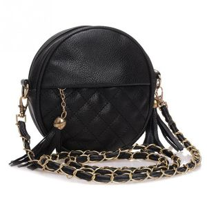 New Women Tassel Chain Small Bags Mini Lady Fashion Round  Shoulder Bag Handbag PU Leather Sling Crossbody Bag