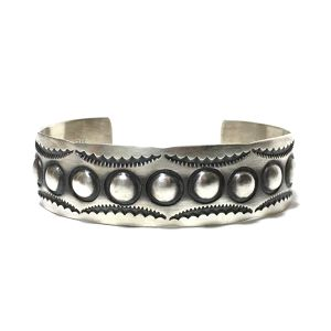 Navajo Sterling Silver Repousse Bangle by Jerrold Tahe