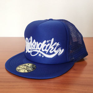 RAKUGAKI Main logo Flat Visor Mesh Snap Back Cap Royal x White