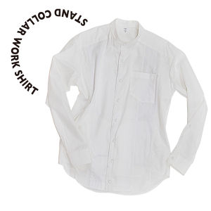 RE:Stand collar work shirt  [White]