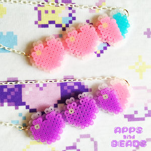 【Apps and Beads】ハートライフネックレス(まじょっこピンク&ラベンダー)
