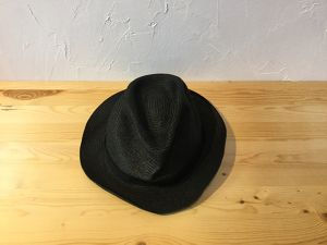 "mature ha "" BOXED HAT  4.5cm brim  Black × Black  For Mens """
